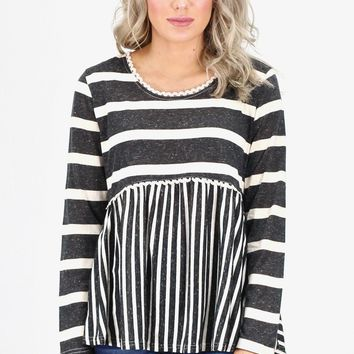 Vertical + Horizontal Stripes Babydoll Top {Black}