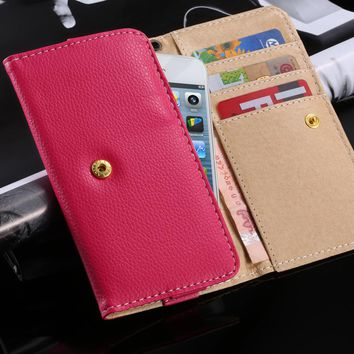 """FLOVEME Universal 5.1"""" Luxury Leather Wallet Purse Pouch Case For iPhone 7 6 6s 5 SE Samsung S3 S5 S6 S7 Huawei P8 Lite P9 Cover"""