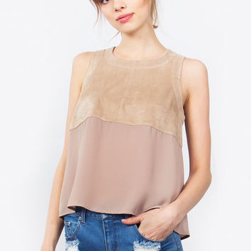 Sleeveless Half Faux Suede Top
