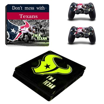 Houston Texans: 4 Varieties of Vinyl Skin Decal for Sony PlayStation 4/PS4 Console and 2 Controllers
