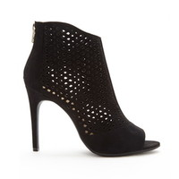 Laser-Cut Faux Suede Booties