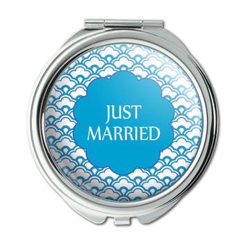 Just Married Blue Scallops Compact Purse Mirror