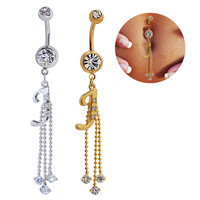 New Charming Dangle Crystal Navel Belly Ring Bling Barbell Button Ring Piercing Body Jewelry = 4672686916