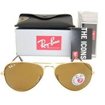 Ray-Ban Aviator 3025 Gold Frame Brown Polarized RB 3025 001/57 58mm Small NEW