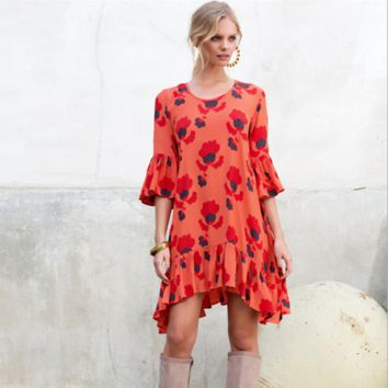 Fashion Print Frills Middle Sleeve Round Neck Irregular Mini Dress