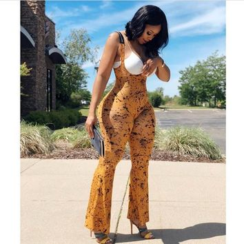 Yellow Black Dot Long Jumpsuits Summer Woman O Neck Sleeveless Fitting Rompers 2018 New Style Female Backless Bell-Bottoms S667