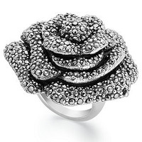 Sterling Silver Ring, Marcasite Flower Ring - Rings - Jewelry & Watches - Macy's