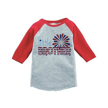 Custom Party Shop Little Brother 4th of July Raglan Tee