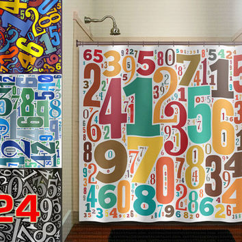 digit math custom lucky Number shower curtain bathroom decor fabric kids bath white black custom duvet cover rug mat window