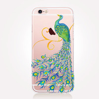 Transparent Peacock Phone Case- Transparent Case - Clear Case - Transparent iPhone 6 - Transparent iPhone 5 - Samsung S7 - Gel Case