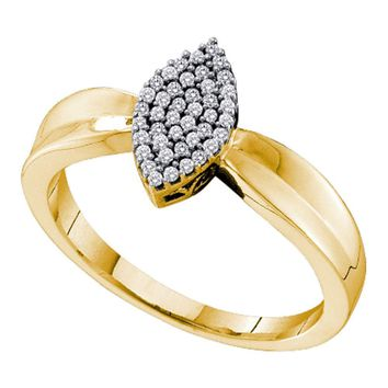 10kt Yellow Gold Womens Round Diamond Oval Cluster Ring 1/8 Cttw