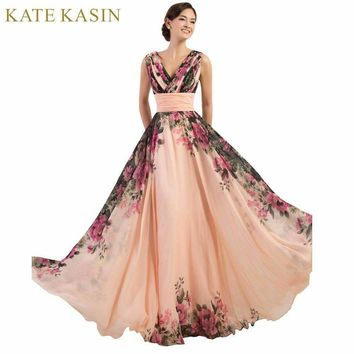 3 s Evening Dresses Stock One Shoulder Flower Pattern Floral Print Chiffon Evening Dress Gown Party Long Dresses