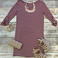 Need it Now Striped Dress: Burgundy