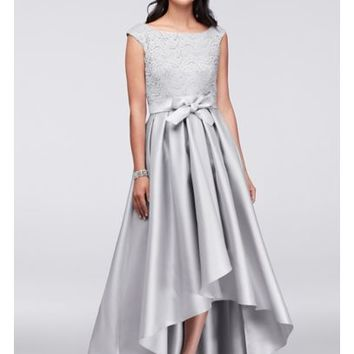 Off-The-Shoulder Lace and Mikado Ball Gown - Davids Bridal