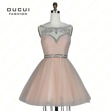 Real Photos Peach Color Beading Handwork Short Prom Dresses With Stones Party Gowns OL102830B