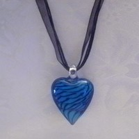 Heart Shaped Lampwork Glass Pendant Necklace~ Fast Shipping ~ U.S.A. Seller