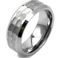 8mm Tungsten Hammered Wedding Ring with Tapered Polished Edges