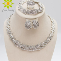 Free Shipping 2016 Leaves Shape Silver Plated Clear Crystal Jewelry Set New Fashion Wedding Bridal African Costume Jewelry Sets