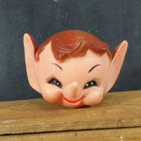 Rubber Elf Head Vintage Craft Doll Half Heads Face Crafting Supply Retro Christmas Knee Hugger Elves Dolls Pixies Ornament Holiday Supplies