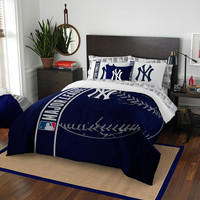 New York Yankees MLB Full Comforter Bed in a Bag (Soft & Cozy) (76in x 86in)