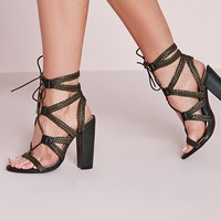 Missguided - Plaited Lace Up Block Heel Sandal Khaki