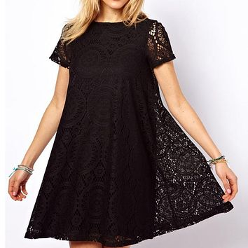 Fashion Female Summer Style A-Line Short Sleeves Summer Dress Women Hollow Out Lace Dress