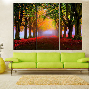modern art Forest canvas print wall art,  extra large wall art, nature autumn tree large canvas print, modern art, wall decoration  6s81