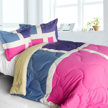 Nice Tamil Quilted Patchwork Down Alternative Comforter Set in Twin Size