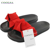 COOLSA Summer Women's Slippers Bow Fabric Designer Flat Non-Slip Cute Slides Home Flip Flop Casual Sandal Female Tap Beach Shoes