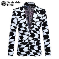 2017 Autumn Black Blazer Men Slim Fit Geometric Print Pattern Party Mens White Blazer And Suit Jacket DT253