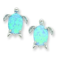 Sterling Silver Rhodium Plated Created Opal Turtle Post Earrings (0.4IN x 0.3IN )