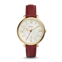 Jacqueline Three-Hand Date Leather Watch, Burgundy