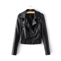 Brand Motorcycle PU Leather Jacket Women Winter An