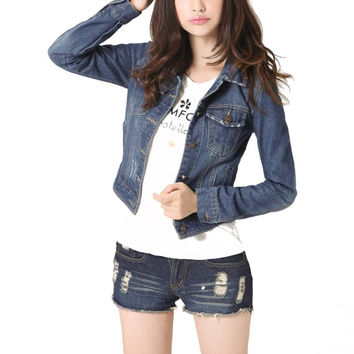 Women Fashion Denim Jacket Vintage Cropped Short Denim Jackets Long-Sleeve Jeans Cardigan Coat Light/Deep Blue Plus Size S-4XL