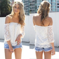 Off Shoulder Hollow Out Lace Tops [6259214212]