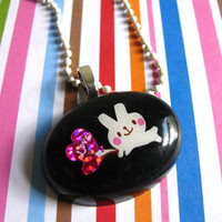 White Love Bunny Resin Necklace