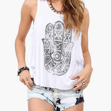 White Khamsa Print Tank Top