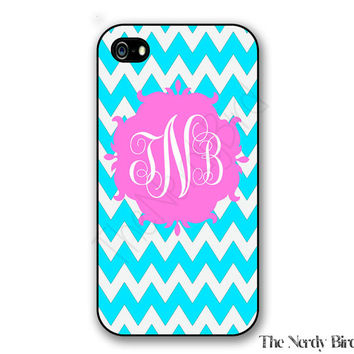 Personalized iPhone 4, 5, 5c and 6 and Galaxy s3, s4 and s5 - blue and white chevron and pinkl Monogram
