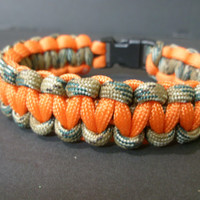 Paracord Survival Bracelet ~ Hunters Camo and Blaze Orange