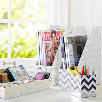 Printed Desk Accessories - Metallic Silver Foil Chevron