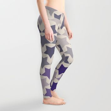 Blue Purple Stars Leggings by Webgrrl