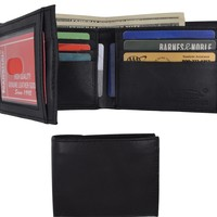 Genuine Leather Lambskin Wallet Side Flap and Credit Card ID Holder Wallet 92