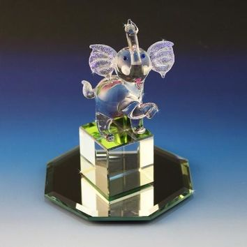 Hand Made Glass Elephant, Trunks Up