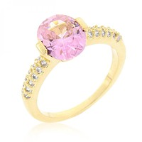 Pink Oval Cubic Zirconia Engagement Ring