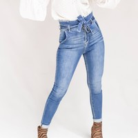 Tie Me Down Medium Wash High Waist Paperbag Skinny Jeans