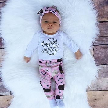 New baby girl clothing sets cartoon newborn set  letter Romper  + Pants + Hat + Headband baby girl suit