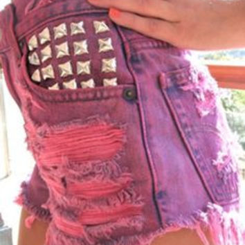 PINK Mystery DISTRESSED High Waisted Shorts / Sexy Denim Shorts For Summer: All Sizes