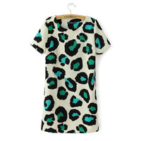 Stylish Green Leopard Print Round-neck Short Sleeve Mini Dress Skirt One Piece Dress [4917802564]