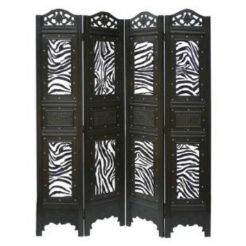 Phat Tommy 4-Panel Zebra Animal Print Room Divider Screen - Interior Room Dividers at iRoom Dividers