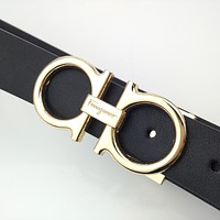 Ferragamo Retro Simple Horseshoe Buckle Belt